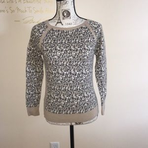 LOFT Snow Leopard Animal Print Crewneck Sweater SP